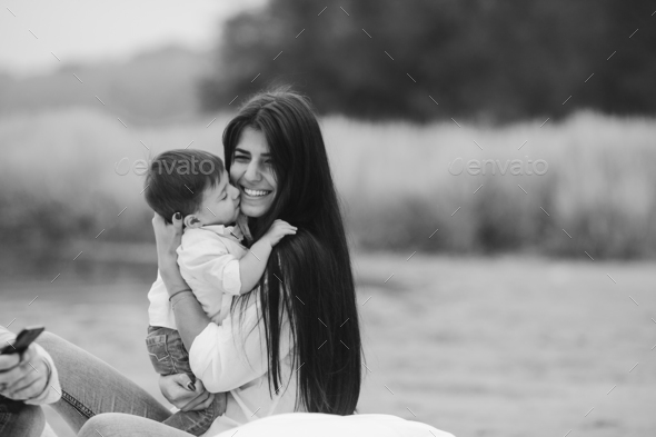 Happy mother with her young son - Stock Photo - Images
