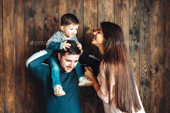 young family having fun at home - Stock Photo - Images