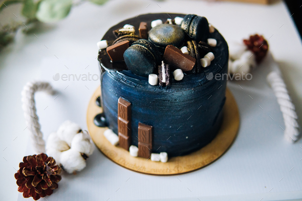 beautiful designer chocolate cake - Stock Photo - Images
