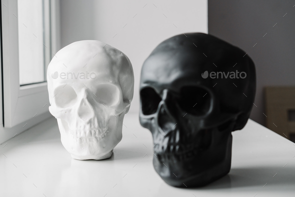 White and black skulls stand on the windowsill - Stock Photo - Images