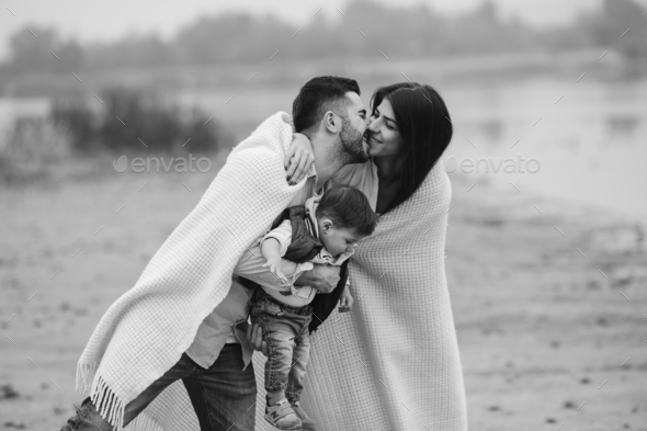 Young family with a little boy to have fun - Stock Photo - Images