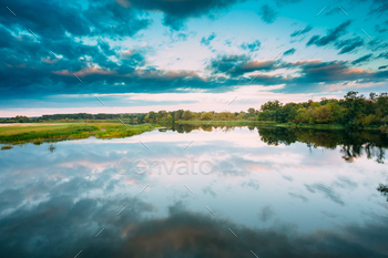 Water Surface Of Lake Pond River At Summer Sunny Evening. Nature