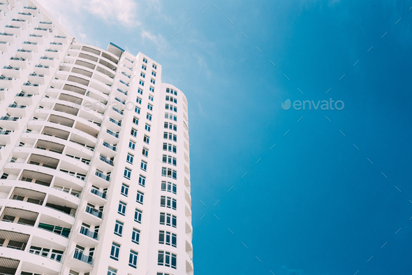 Wall Of New Modern Multi-storey Residential Building House In Re - Stock Photo - Images