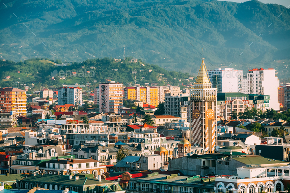 Cityscape Of Georgian Resort Town Of Batumi. Different Colored H - Stock Photo - Images
