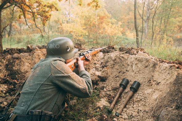 Re-enactor Dressed As German Wehrmacht Infantry Soldier In World - Stock Photo - Images