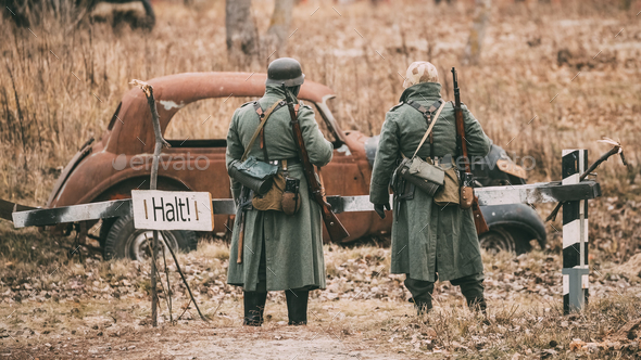 Unidentified Re-enactors Dressed As German Infantry Wehrmacht so - Stock Photo - Images