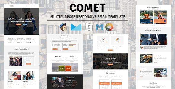 Image of Comet - Email Template Multipurpose Responsive with Stampready Builder Access