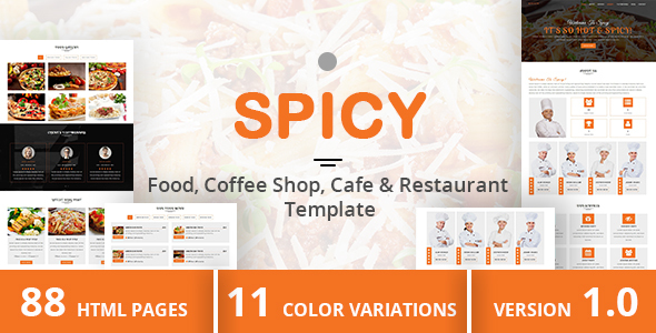 SPICY - Food, Coffee Shop, Cafe & Restaurant Template - Restaurants & Cafes Entertainment