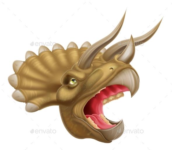 Triceratops Dinosaur Head - Animals Characters