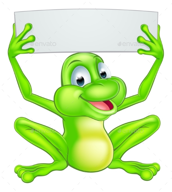 Cartoon Frog Holding Sign - Animals Characters