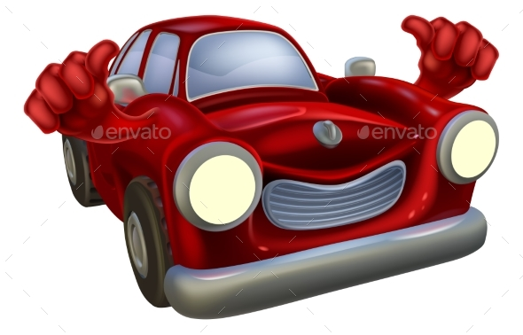 Car Cartoon Thumbs Up - Man-made Objects Objects