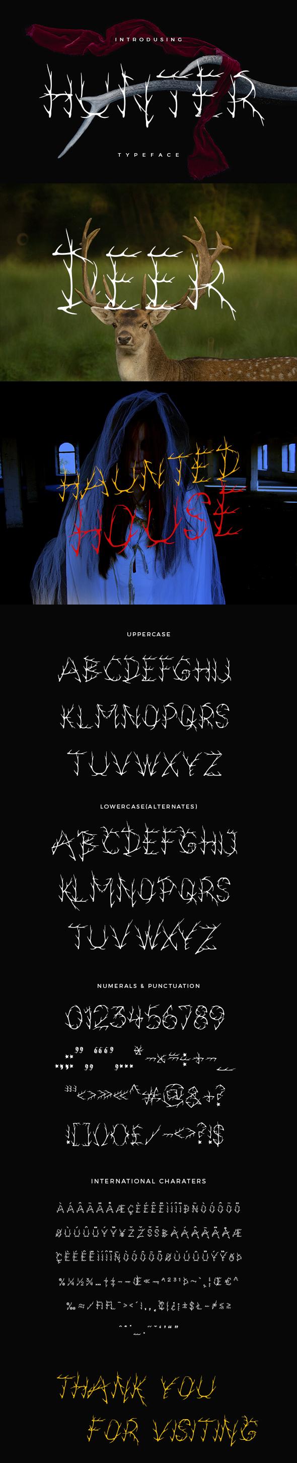 Hunter Typeface - Futuristic Decorative