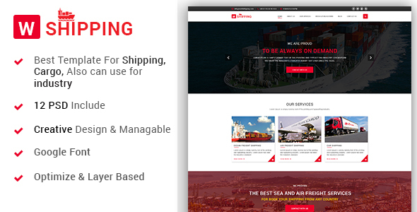 W-Shipping – The Shipping, Cargo, Logistics Industrial PSD Template