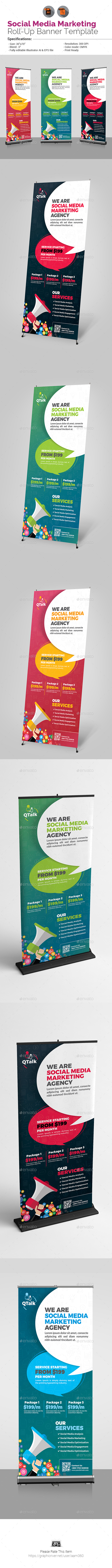 Social Media Marketing Roll Up Banner Template - Signage Print Templates