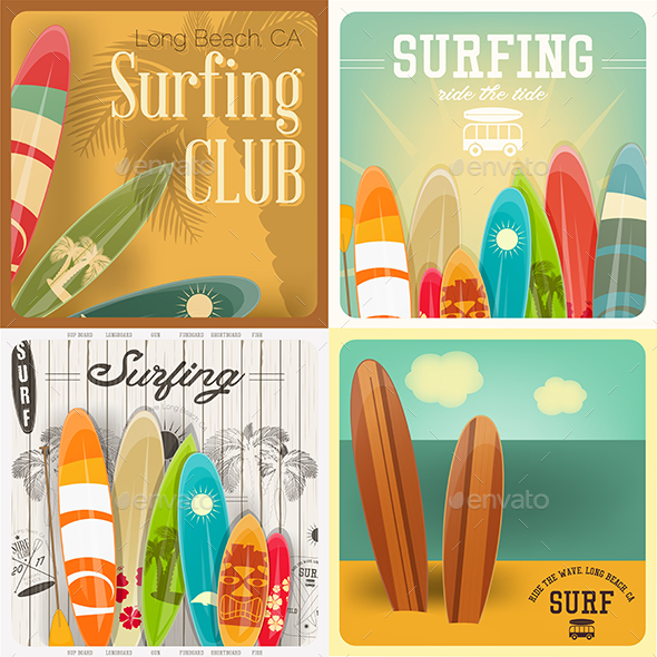 Surfing Posters Set - Sports/Activity Conceptual