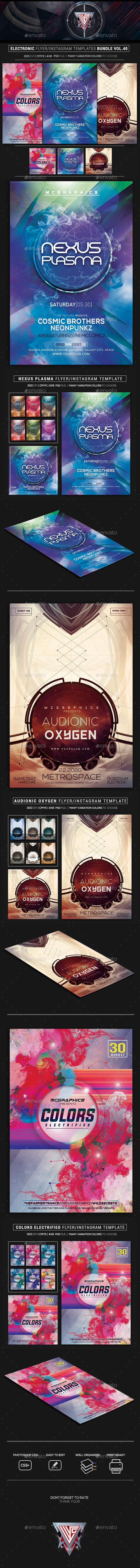 Electro Music Flyer/Instagram Bundle Vol. 50 - Flyers Print Templates