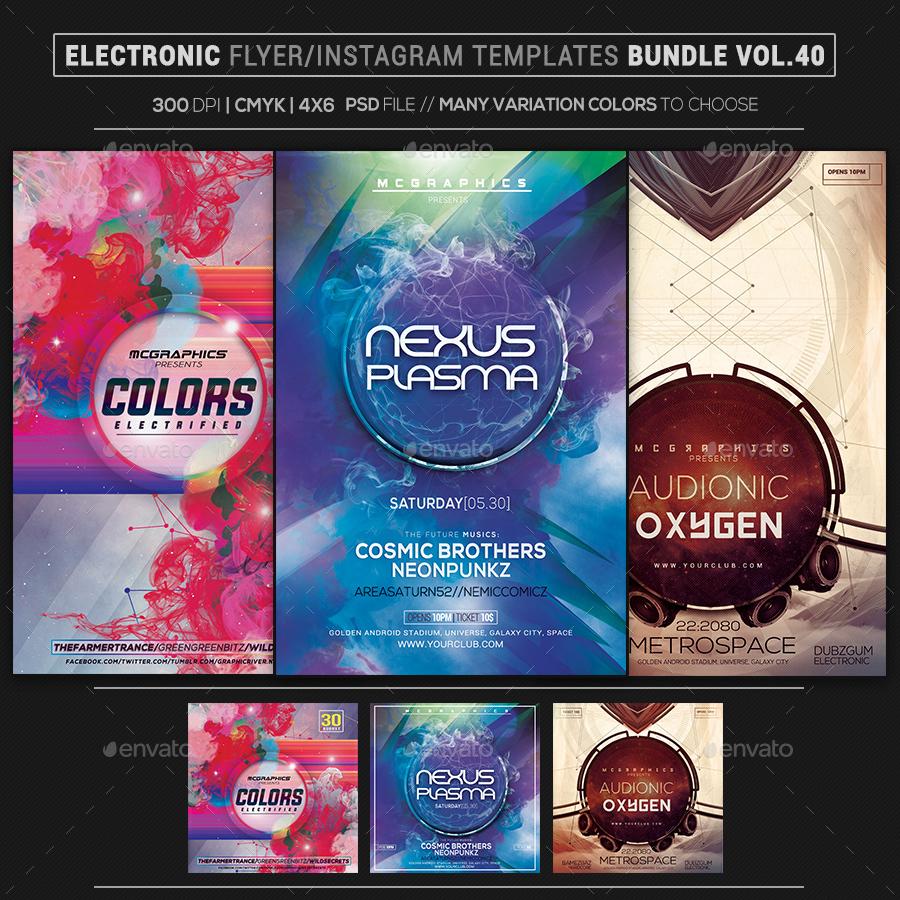 Electro Music Flyer/Instagram Bundle Vol. 50