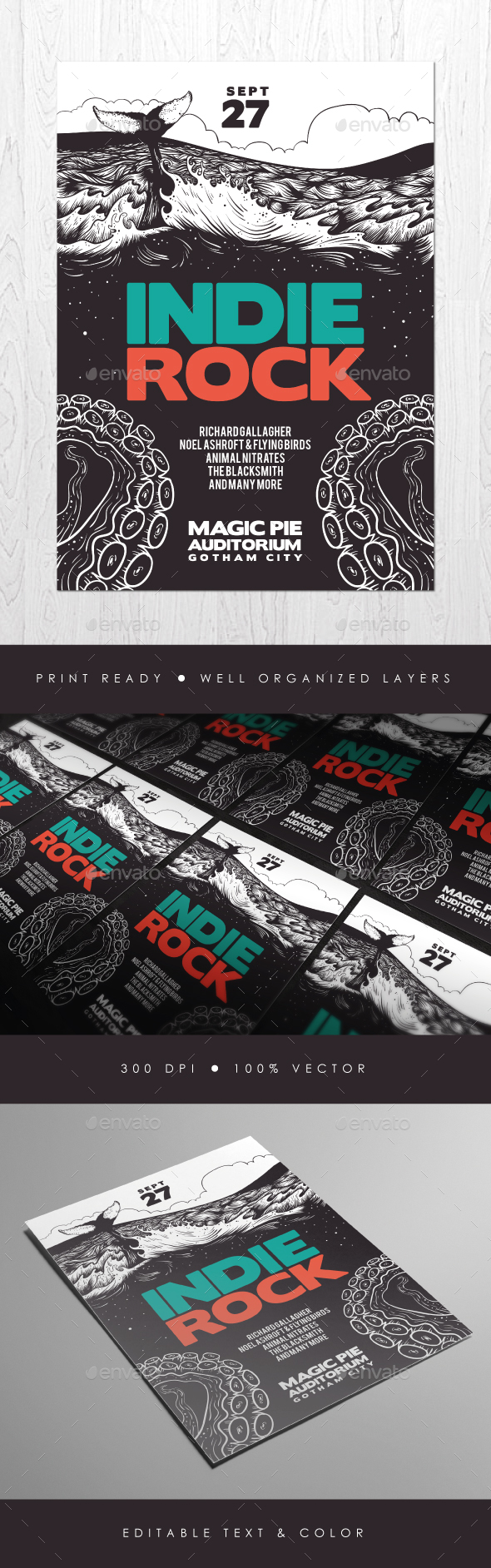 Illustrated Indie Rock Flyer - Concerts Events