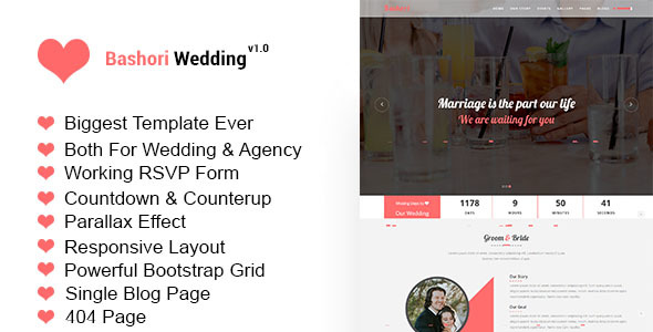 Bashori – Wedding HTML Template
