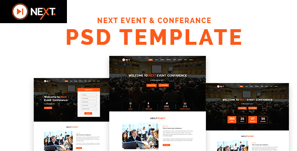 Next - Event and Conference Management PSD Template