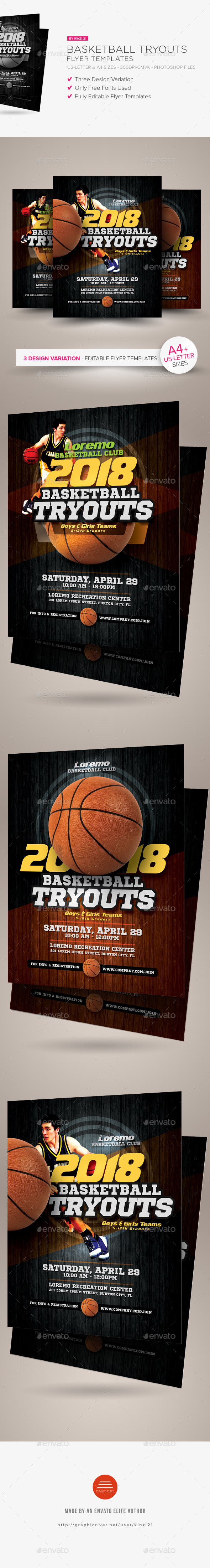 Basketball Tryouts Flyer Templates - Sports Events