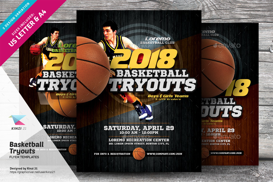 Basketball Tryouts Flyer Templates By Kinzi21 Graphicriver
