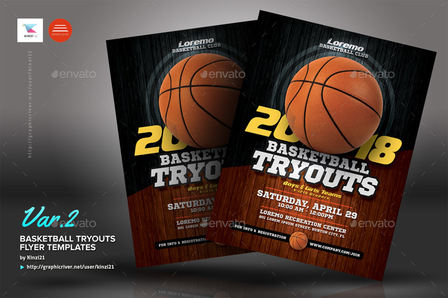 basketball tryouts flyer templates by kinzi21