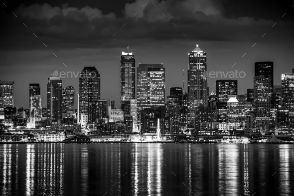 Seattle Night in Black and White - Stock Photo - Images