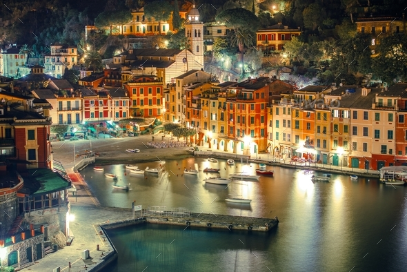Portofino Harbour at Night - Stock Photo - Images
