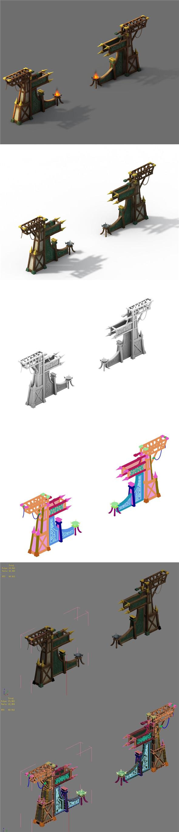 Barracks - Junzhai Gate - 3DOcean Item for Sale