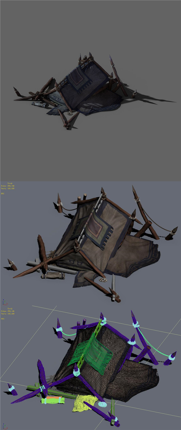 Barracks - broken tent 02 - 3DOcean Item for Sale