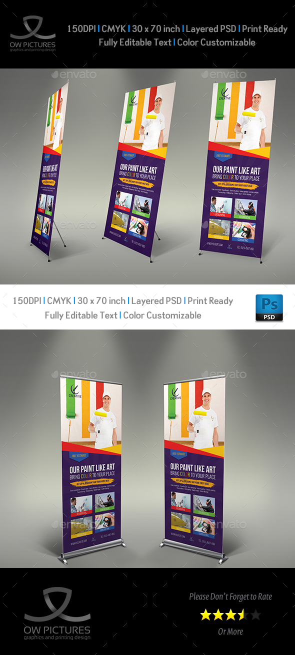 Painter Signage Roll Up Banner Template - Signage Print Templates