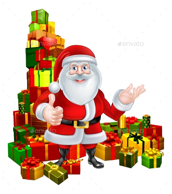 Cartoon Santa and Gifts - Seasons/Holidays Conceptual