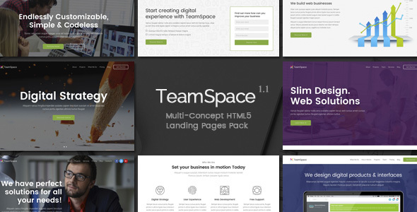 TeamSpace - Multi-Concept Landing Pages Pack - Landing Pages Marketing
