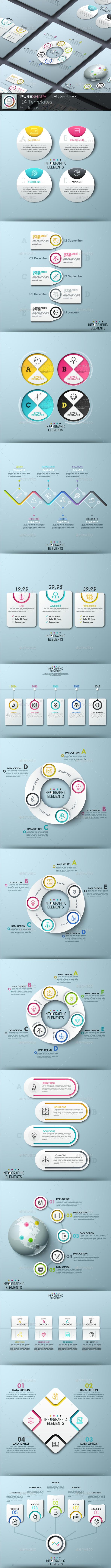 Pure Shape Infographic. Set 9 - Infographics