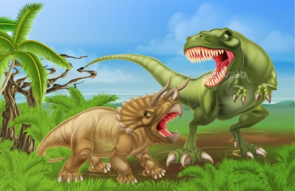 T Rex Triceratops Dinosaur Fight Scene - Technology Conceptual