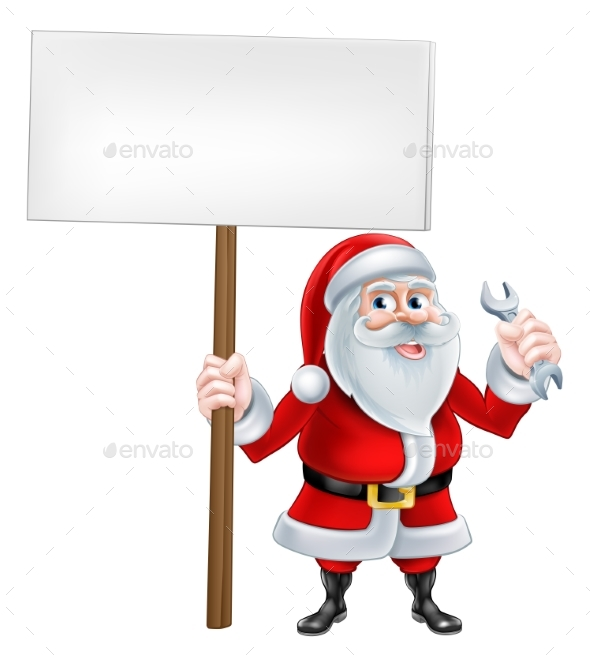 Santa Wrench Sign - Miscellaneous Vectors