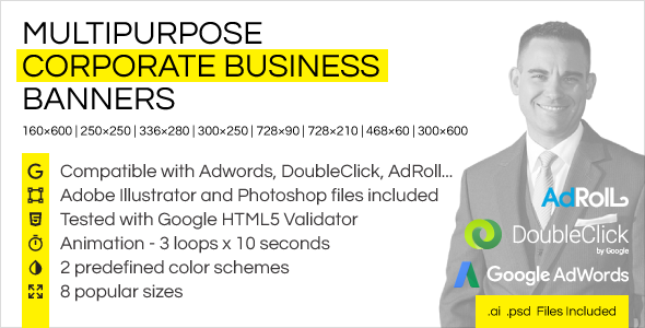 Multipurpose Corporate Business HTML5 Banner Ads - CodeCanyon Item for Sale