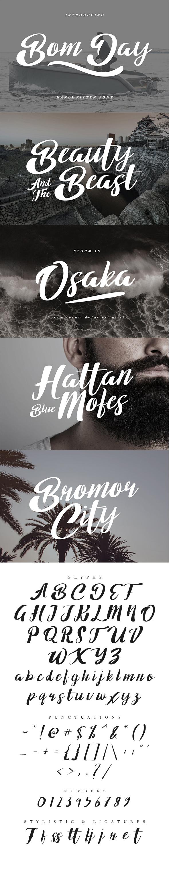 Bom Day Font - Calligraphy Script