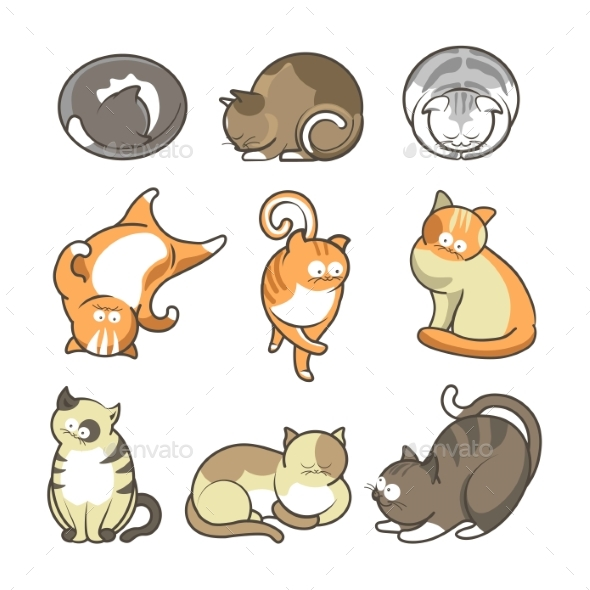 Cartoon Cats in Various Positions Set on White - Animals Characters
