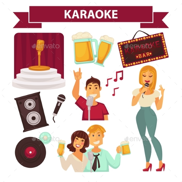 Karaoke Club Party Icon Attributes Poster on White - Miscellaneous Vectors