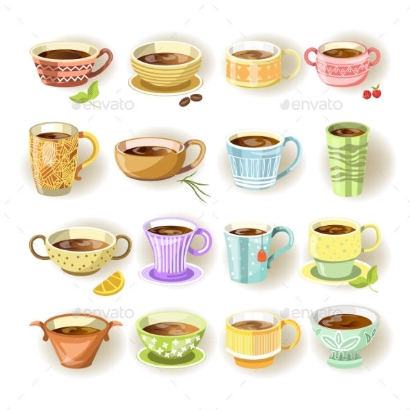 Cups with Various Colorful Print Set on White - Food Objects