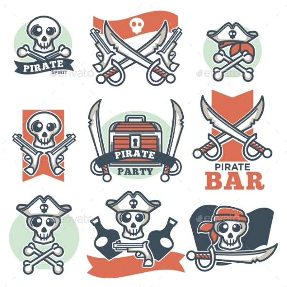Pirate Spirit Logo Emblems Vector Poster on White - Miscellaneous Vectors