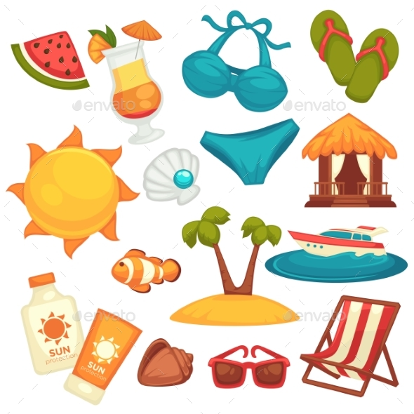 Summer Holiday Equipments and Clothes Poster - Man-made Objects Objects