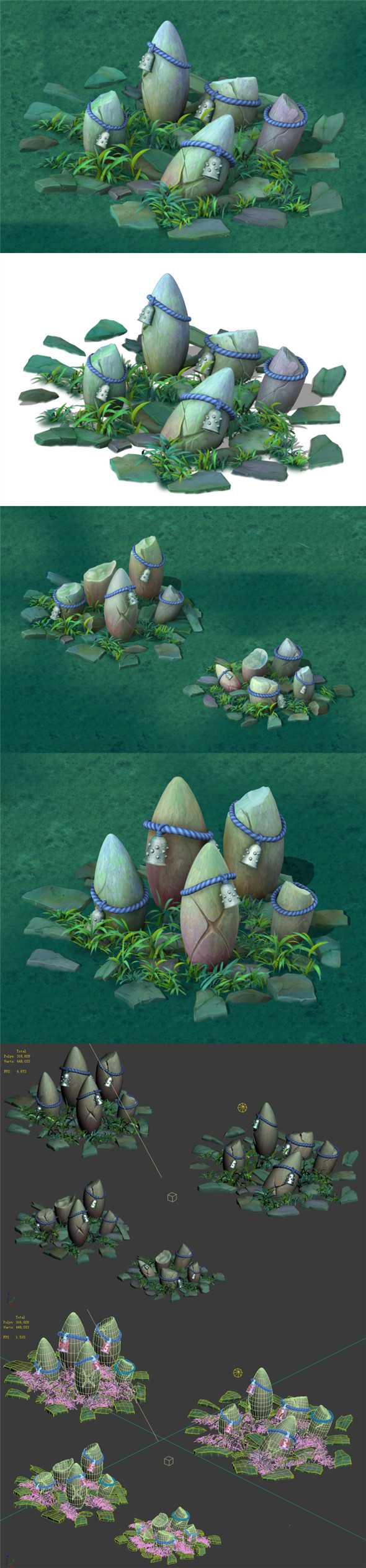 Cartoon Edition - Ancient Stone Stone Totem - 3DOcean Item for Sale