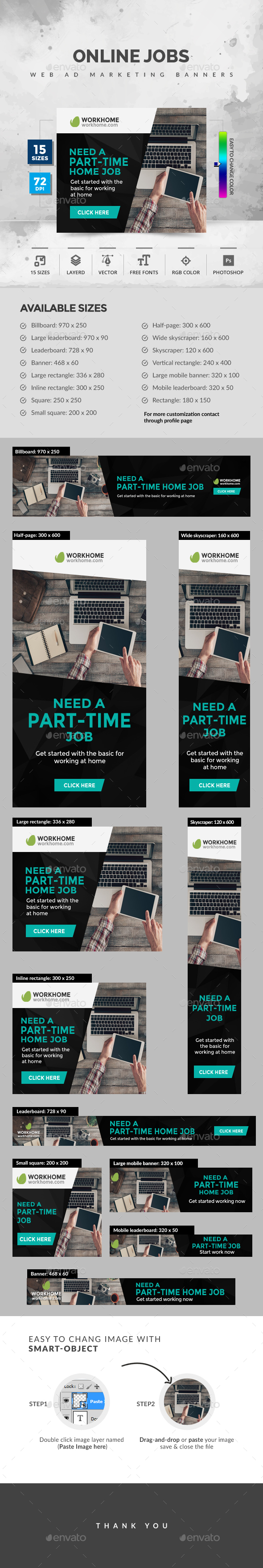 Online Jobs - Banners & Ads Web Elements