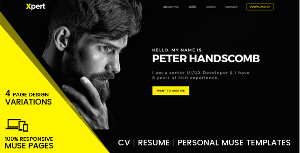Xpert - Personal & Portfolio Muse Templates