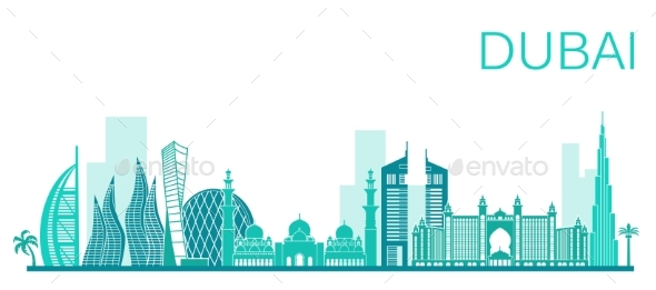 Vector Illustration of Dubai City. Stock Vector - Buildings Objects