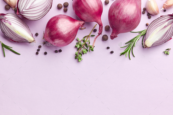red onions and spices - Stock Photo - Images