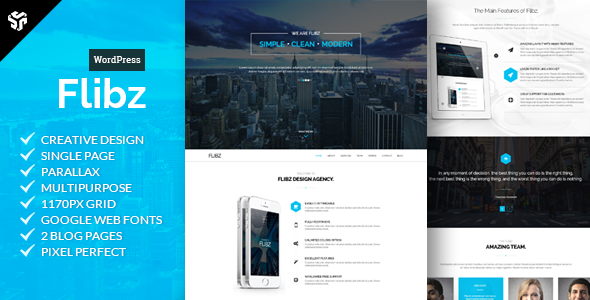 Flibz – One Page Parallax WordPress Theme